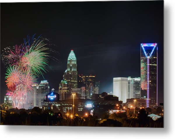 4th Of July Firework Over Charlotte Skyline Metal Print