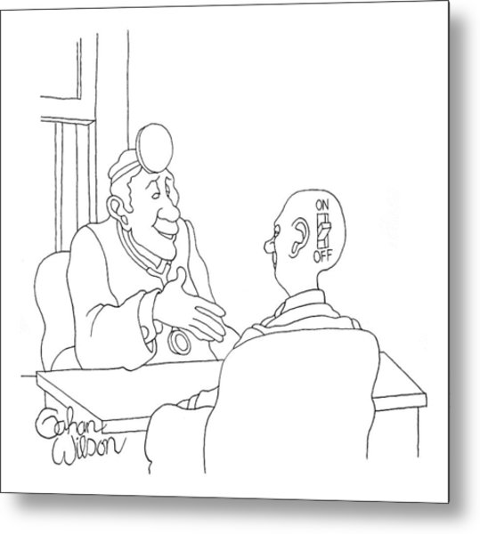 A Doctor Is Seated Across A Desk From A Patient Metal Print