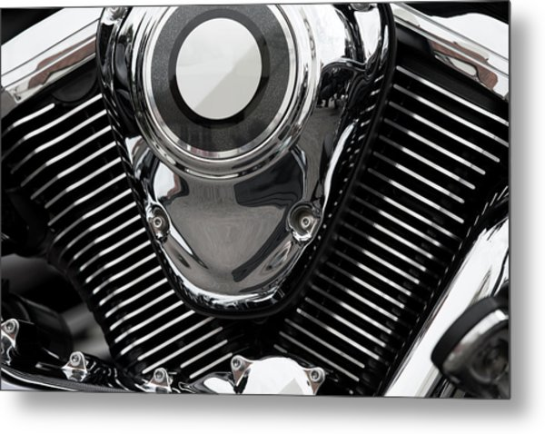 Abstract Motorcycle Engine Metal Print by Andrew Dernie