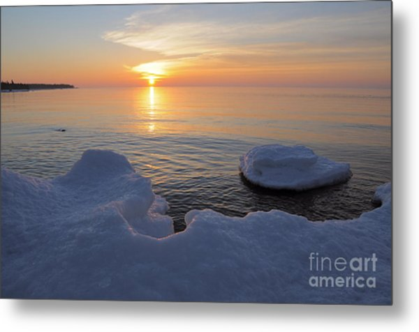 An Icy  Superior Sunrise Metal Print