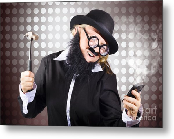 Angry Business Person With Broken Down Technology Metal Print