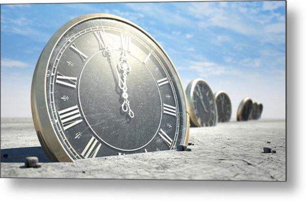 Antique Clocks In Desert Sand Metal Print