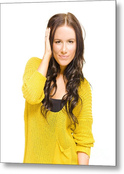 Attractive Brunette Woman With Fresh New Haircut Metal Print