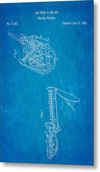 Aultman Mowing Machine Patent 1856 Blueprint Metal Print
