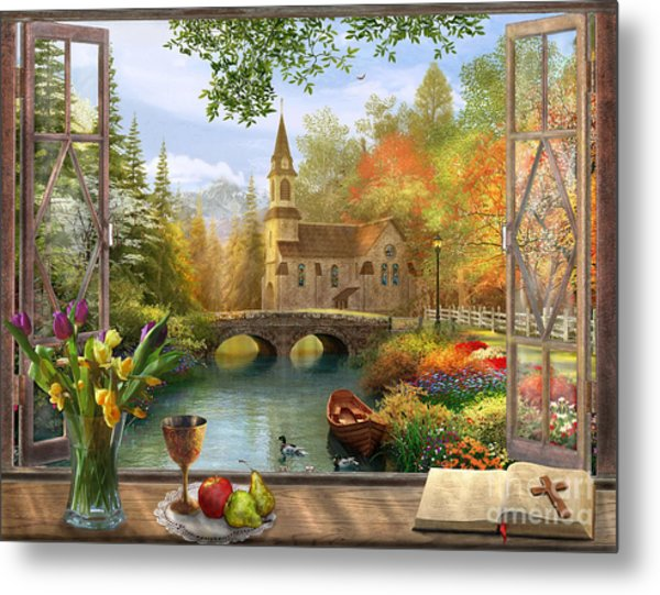 Autumn Church Frame Metal Print