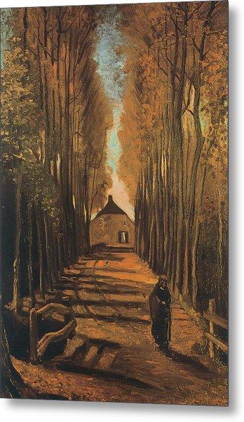 Avenue Of Poplars In Autumn Metal Print by Vincent van Gogh