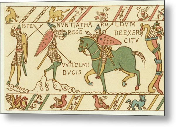 Battle Of Hastings A Sentinel Tells Metal Print by Mary Evans Picture Library