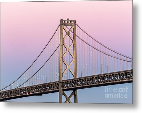 Bay Bridge Lights At Sunset Metal Print