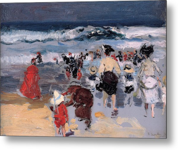 Beach At Biarritz Metal Print