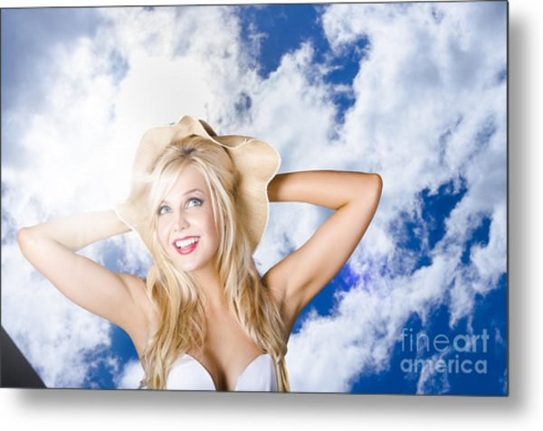 Beach Portrait Of A Happy Young Blond Woman Metal Print