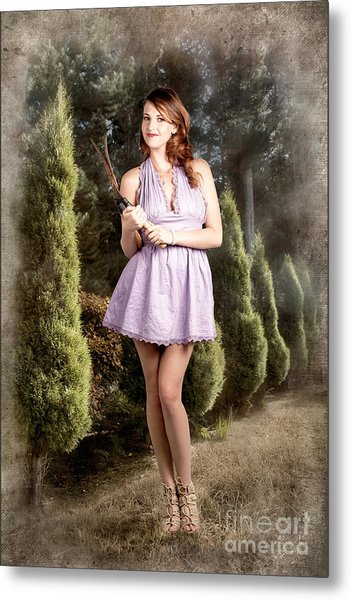 Beautiful Retro Maid With Hedge Clippers In Garden Metal Print