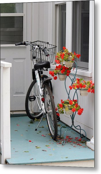 Bicycles And Geraniums Metal Print