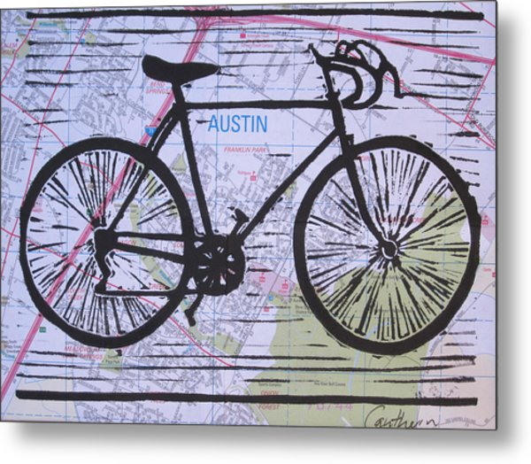 Bike 8 On Map Metal Print by William Cauthern