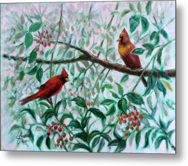 Birds In Our Garden Metal Print