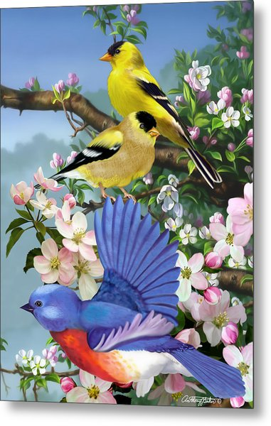 Bluebird And Goldfinch Metal Print