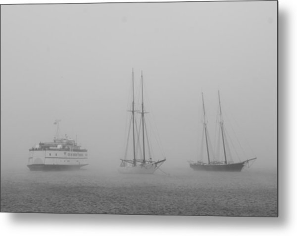 Boats In Fog Metal Print