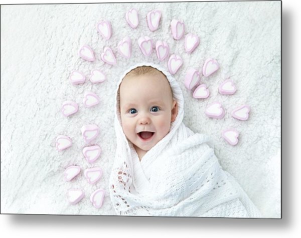 Boy With Hearts Around Head Metal Print by Ruth Jenkinson