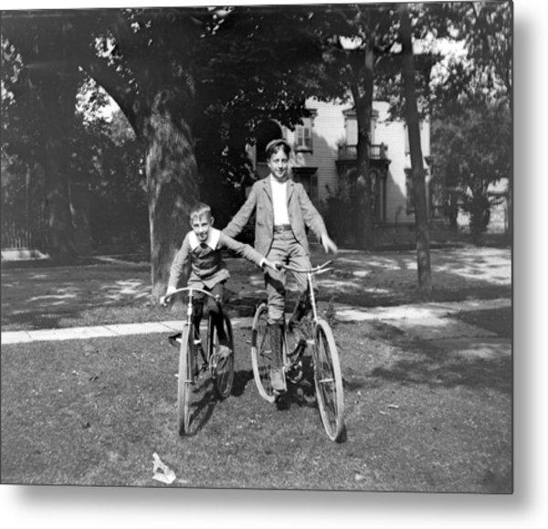 Boys And Bikes Metal Print