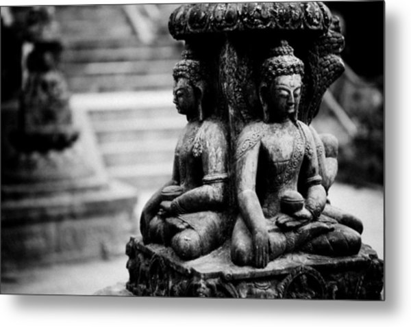 Metal Print featuring the photograph Buddhist Sculpture Near Swayambhunath by Raimond Klavins