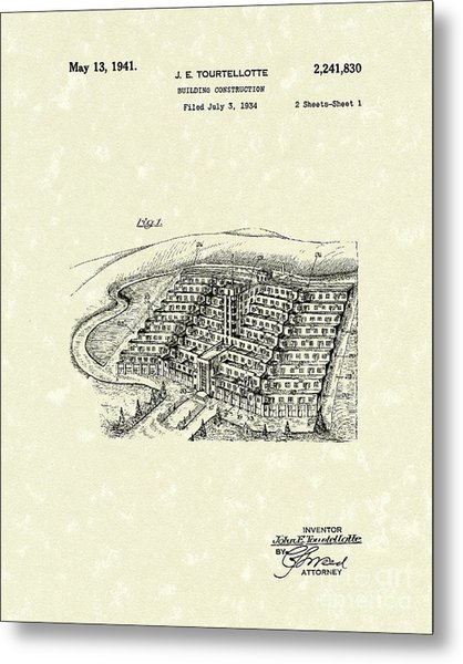 Building Construction 1941 Patent Art Metal Print by Prior Art Design
