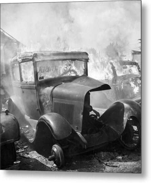 Burning Car Circa 1942  Metal Print