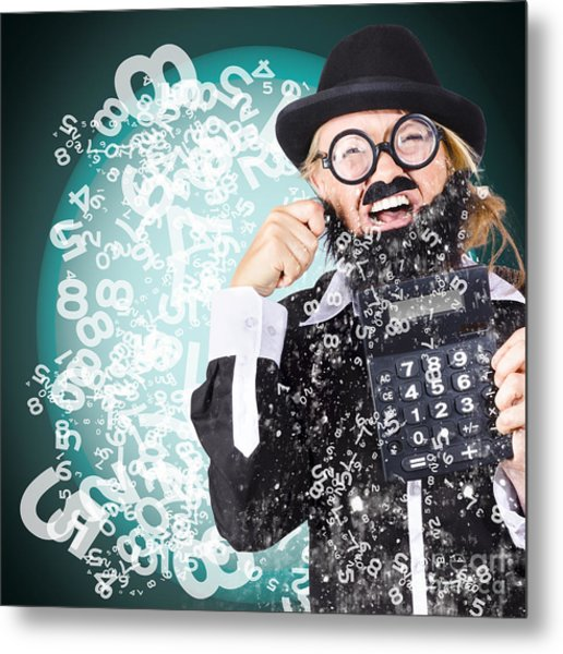 Business Accountant Crying Numbers And Figures Metal Print