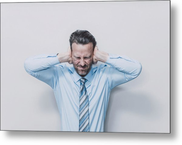 Business Man Covering His Ears. Metal Print by Guido Mieth