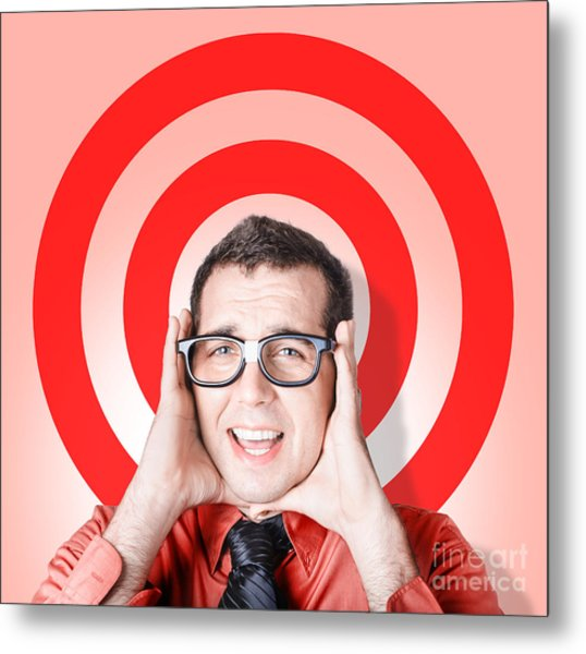 Business Man In Fear On Target Background Metal Print