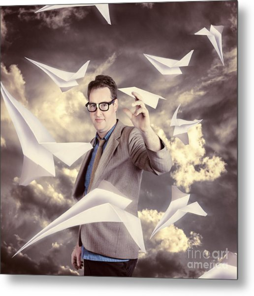 Businessman Developing And Expanding Market Share Metal Print