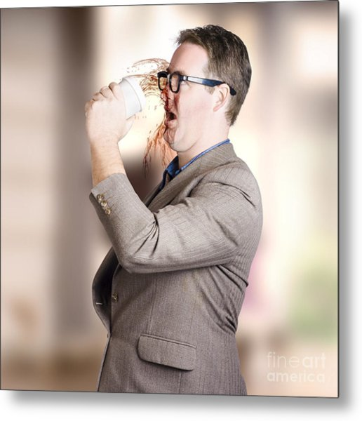 Busy Business Man Drinking Coffee On The Run Metal Print