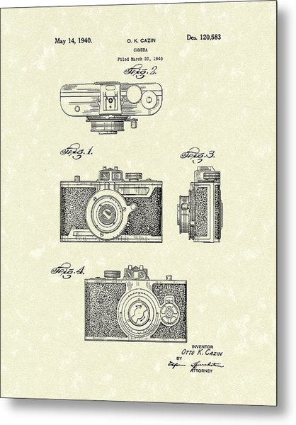 Metal Print featuring the drawing Camera 1940 Patent Art by Prior Art Design