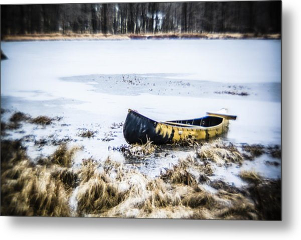 Canoe At The Frozen Lake Metal Print