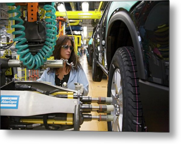 Car Assembly Production Line Metal Print