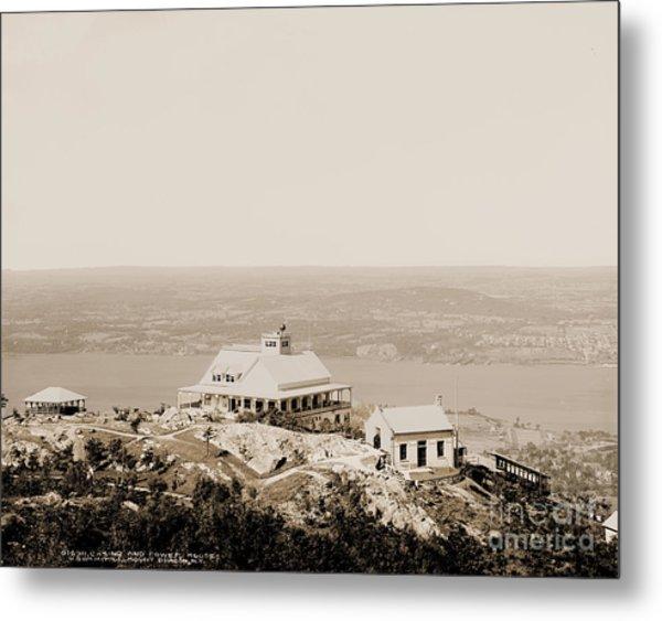 Casino At The Top Of Mt Beacon In Sepia Tone Metal Print