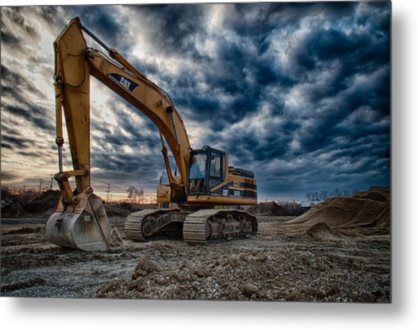 Cat Excavator Metal Print