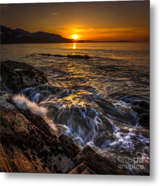 Chamoso Point In Ares Estuary Galicia Spain Metal Print
