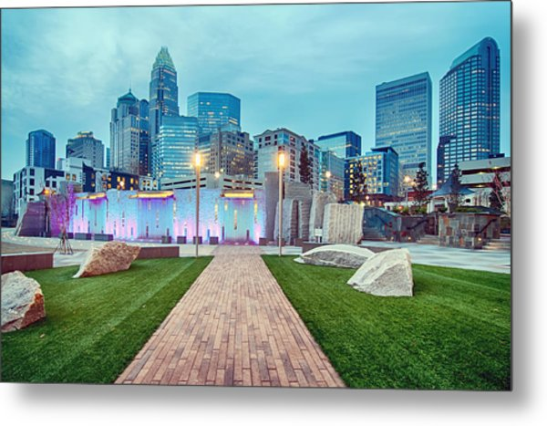 Metal Print featuring the photograph Charlotte City Skyline In The Evening by Alex Grichenko