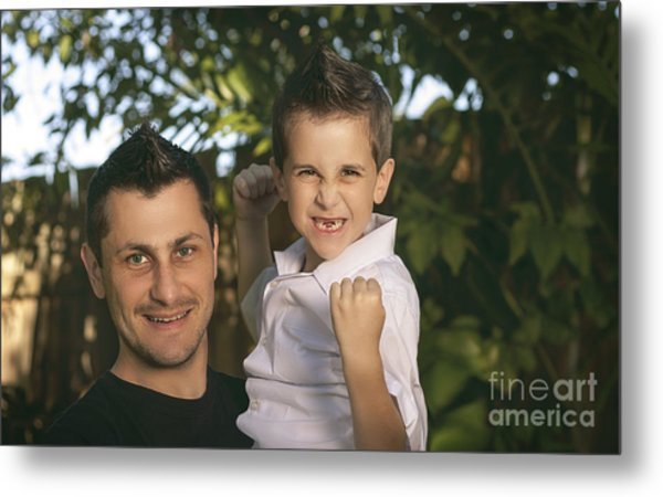 Cheering Child And Man Bonding On Fathers Day Metal Print