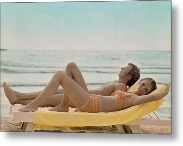Cheryl Tiegs Modeling A Bikini At A Beach Metal Print by William Connors