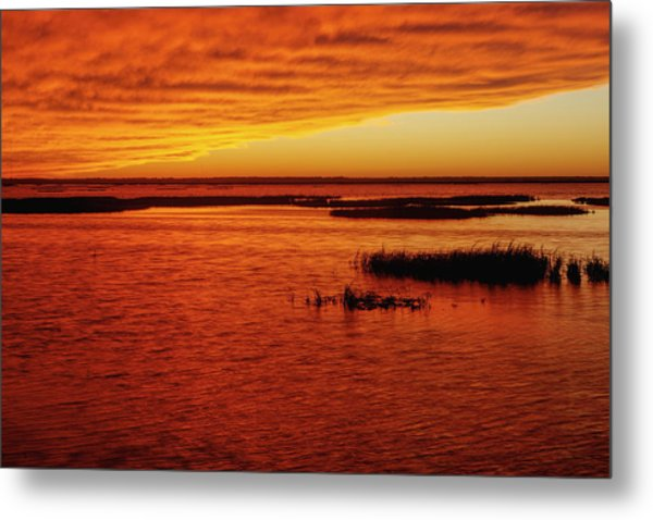 Cheyenne Bottoms Sunset Metal Print