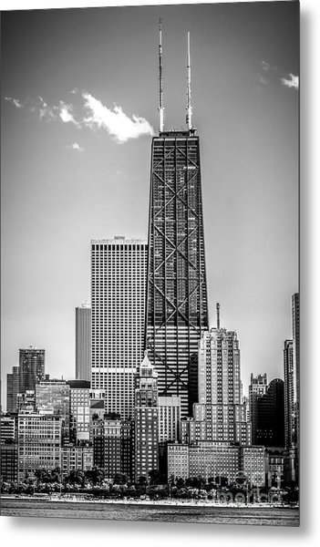 Chicago Hancock Building Black And White Picture Metal Print