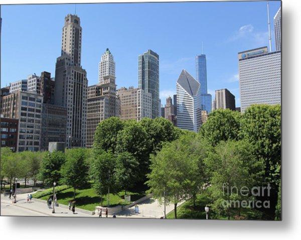 Chicago In Summer Metal Print by Michael Paskvan