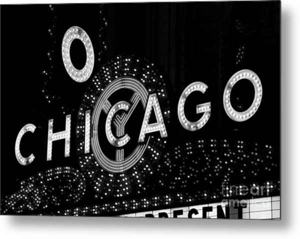Chicago Theater Sign In Black And White Metal Print by Paul Velgos