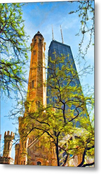 Chicago Water And Hancock Towers Metal Print