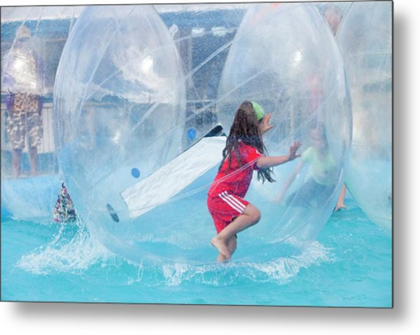 Children Playing In Water Walkers Metal Print