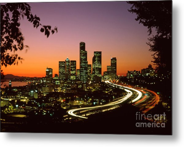 City Of Seattle Skyline Metal Print