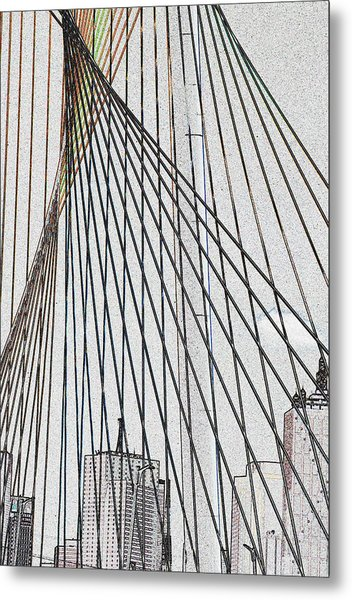 City Through The Bridge Metal Print