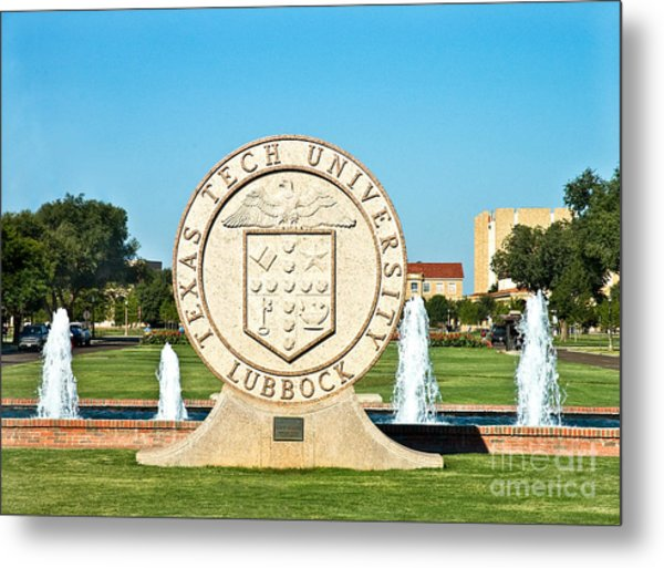 Metal Print featuring the photograph Classical Image Of The Texas Tech University Seal  by Mae Wertz