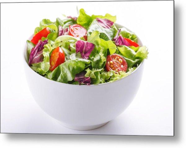 Close-up Of Fresh Salad In Bowl On White Background Metal Print by Vesna Jovanovic / EyeEm