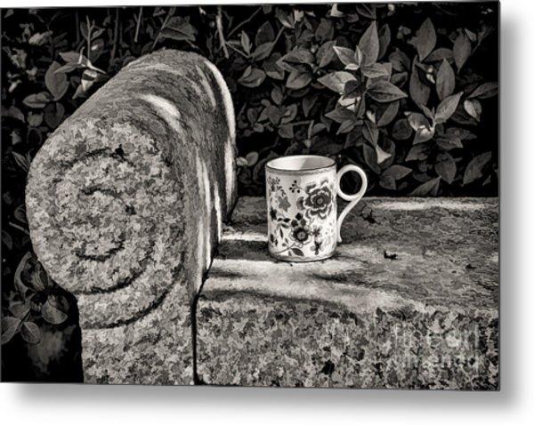 Coffee In Garden Metal Print